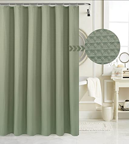Waffle Weave Fabric Shower Curtain Heavyweight 230 GSM Hotel Luxury Mildew Resistant