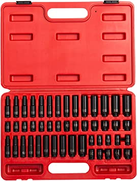 "5// CASOMAN 3//8/"" Drive Impact Socket Set 48 Piece Standard SAE and Metric Sizes"