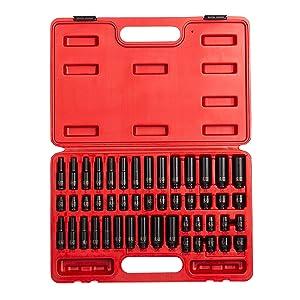 Sunex 1848, 1/4 Inch Drive Master Impact Socket Set, 48-Piece, SAE/Metric, 3/16 Inch - 9/16 Inch, 4mm - 15mm, Standard/Deep, Cr-Mo Alloy Steel, Radius Corner Design, Heavy Duty Storage Case