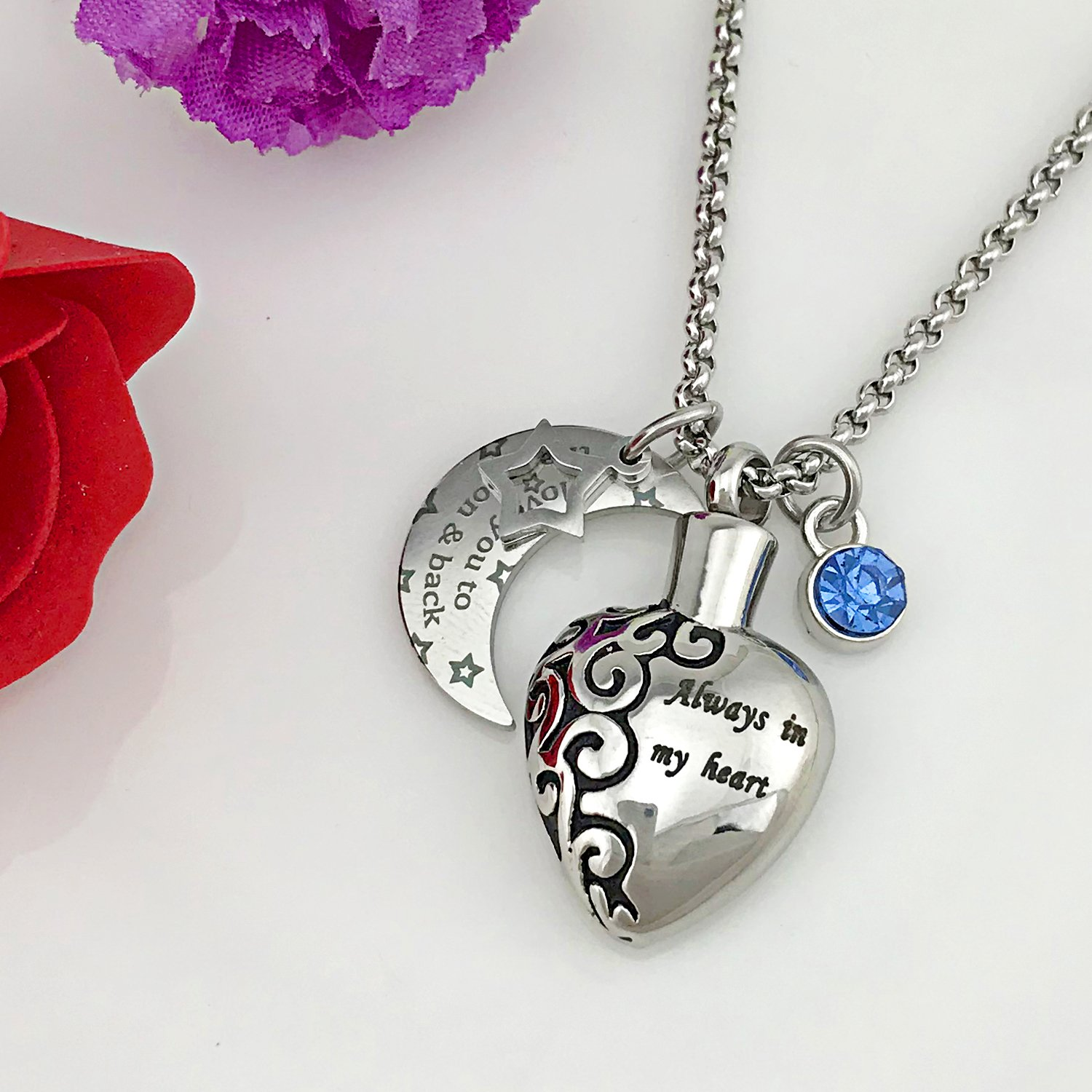 YOUFENG Urn Necklaces for Ashes Always in My Heart Love You to The Moon and Back 12 Birthstones Styles Necklace (December Birthstone URN Necklace) by YOUFENG (Image #2)