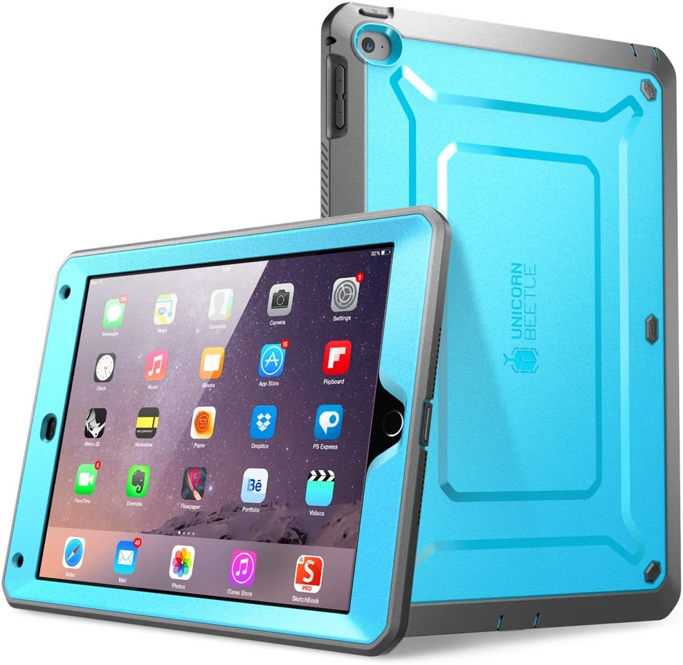 SUPCASE [Unicorn Beetle PRO Series] [Heavy Duty] Case for iPad Air 2,[2nd Generation] 2014 Release Full-Body Rugged Hybrid Protective Case with Built-in Screen Protector (Blue/Black)
