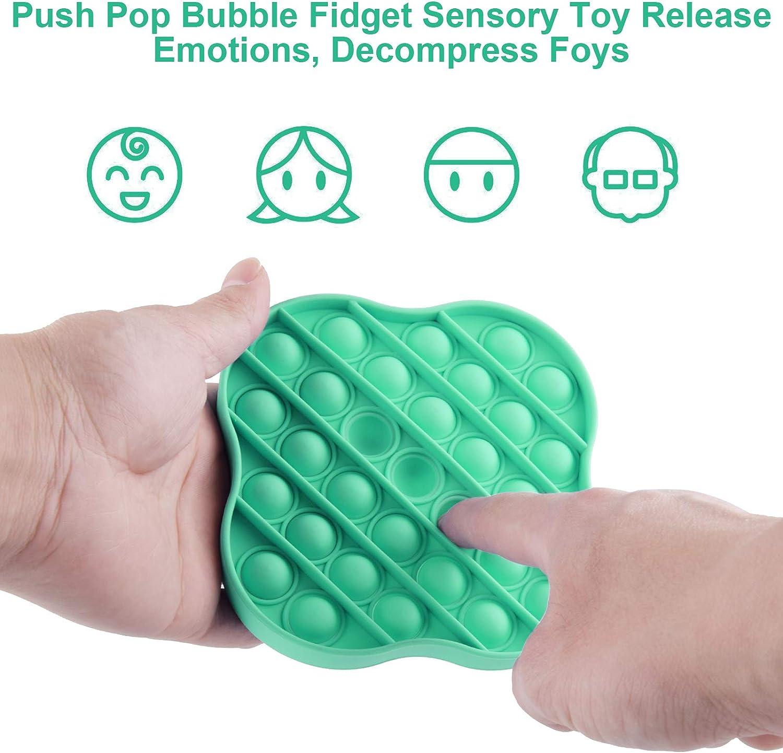 Fidget Toys Pop Pop Bubble Sensory Fidget Toys Autism Special Needs Stress Reliever Push Squeeze Sensory Toy Silicone Stress Reliever Toy Help Restore Emotions Clover Green