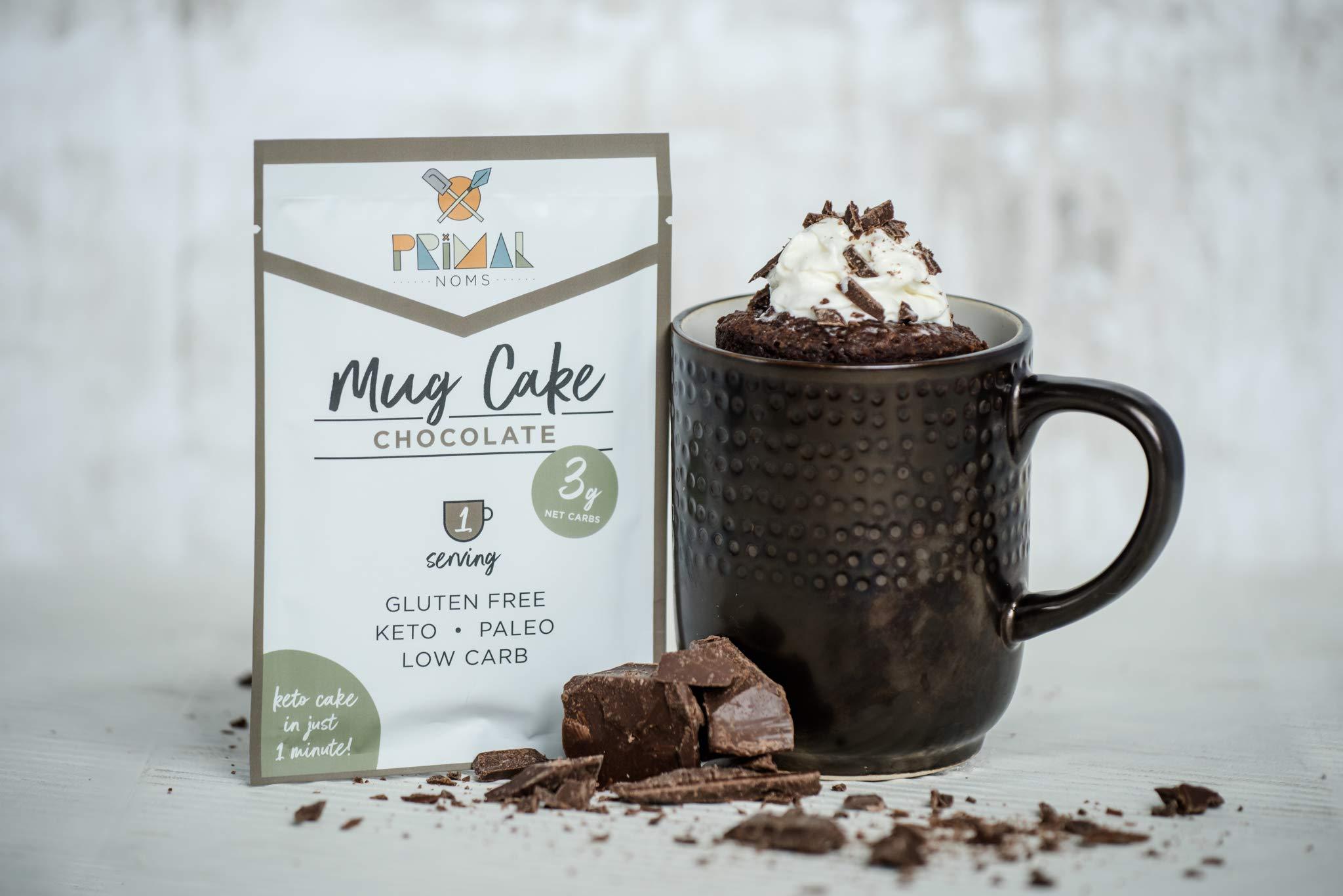 Primal Noms Keto Chocolate Mug Cake Dessert - 5 Pack | 4g Net Carbs | Keto Paleo Low Carb Diabetic Friendly | Sugar-Free | Gluten-Free | No Sugar Alcohols | No Artificial Sweetener by Primal Noms