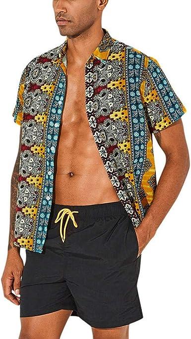 Cocoty-store 2019 Camisa Hawaiana para Hombre, Diseño de Palmeras, para la Playa, Fiestas, Verano y Vacaciones, S-XXXL, Amarillo, Verde, Rosa Caliente: Amazon.es: Ropa y accesorios