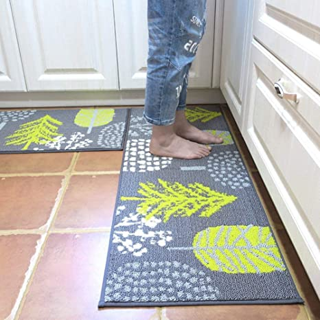 HEBE Kitchen Rugs 2 Piece Non-Slip Kitchen Mat and Rug Set Rubber Backing  Doormat Runner Rug Set Machine Washable (18\