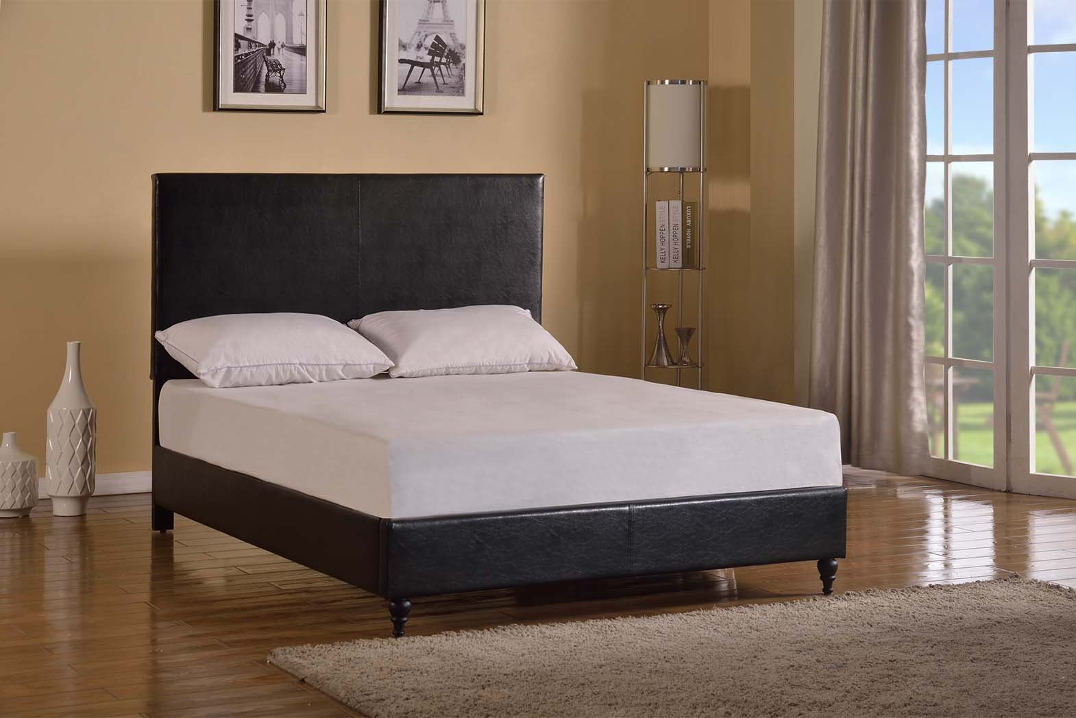 Home Life Black Leather 47'' Tall Headboard Platform Bed with Slats Queen - Complete Bed 5 Year Warranty Included by Home Life