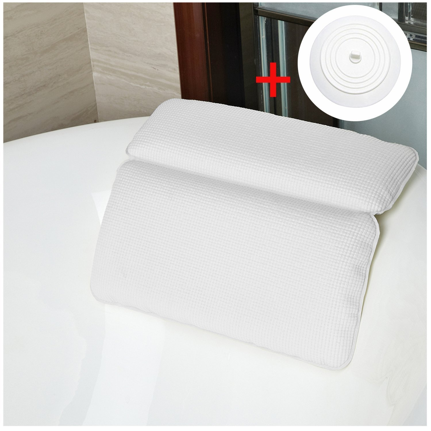 Bath Pillow, Kapmore Spa Bath Pillows Strong Suction Cups Waterproof Head Neck Cushioned Support Bathtubs Pillow For Men and Women Providing a Spa Experience in Home or Travel with Silicone Tub Stopper