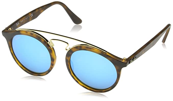 c44fccf259e4f Ray-Ban Doppia High Brow rotondi occhiali da sole in nero verde RB4256  601 71 46  Amazon.it  Abbigliamento
