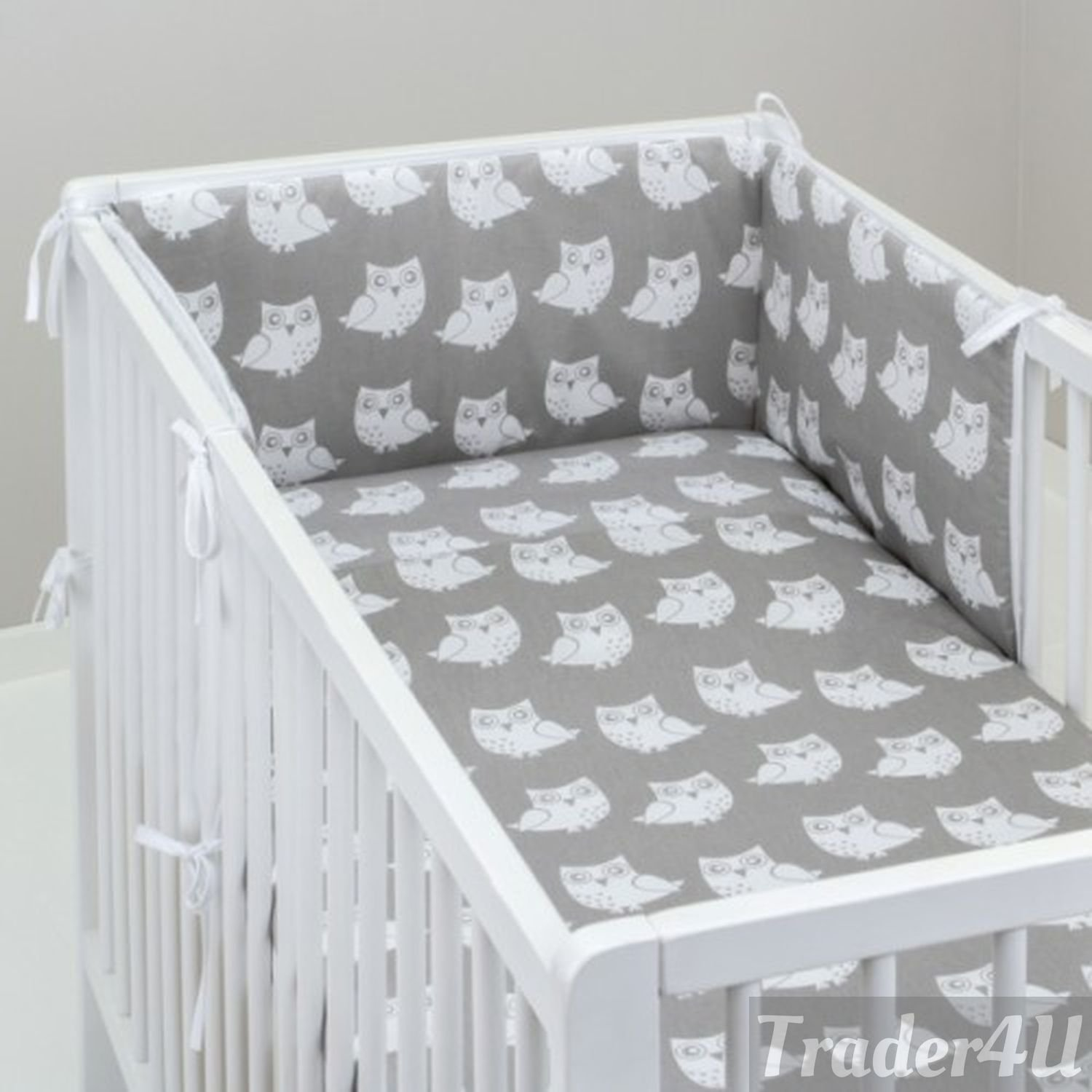 Fit to Cot Bed 140x70 cm, Butterflay//Ladybugs//Flowers on White MillaLu 3 Pcs Baby Nursery Bedding Set fit to Cot 120x60cm or Cot Bed 140x70cm Padded Bumper