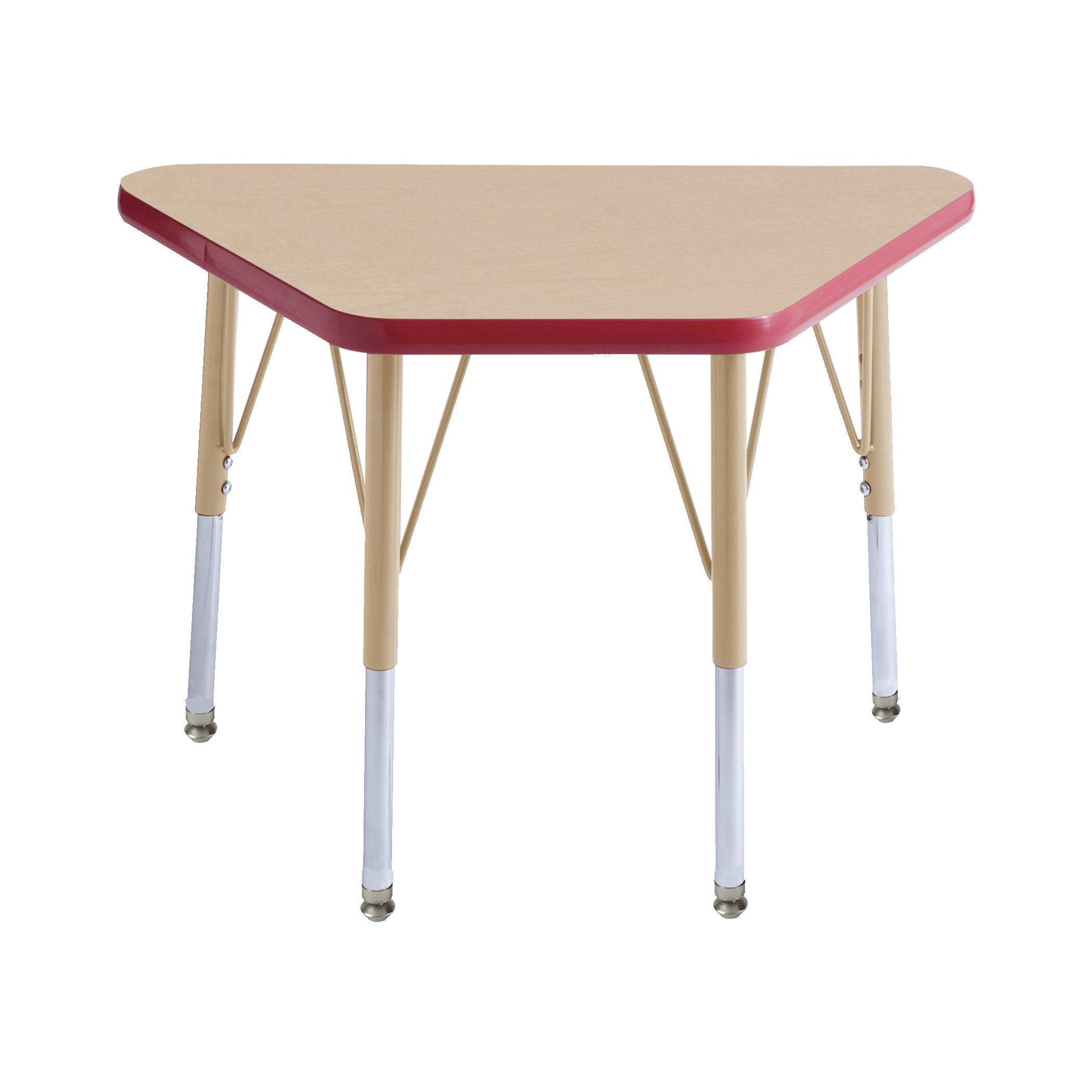 ECR4Kids Everyday T-Mold 18'' x 30'' Trapezoid Activity School Table, Toddler Legs w/Swivel Glides, Adjustable Height 15-23 inch (Maple/Red/Sand)