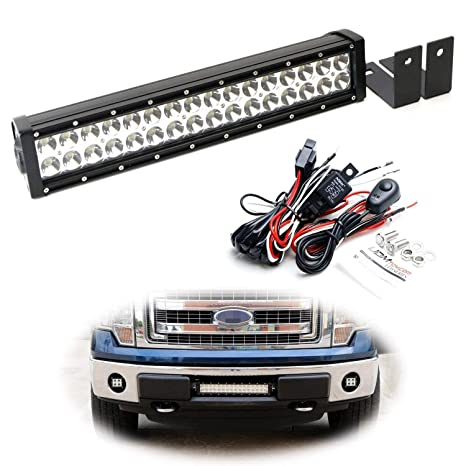 iJDMTOY Lower Grille Mount LED Light Bar Kit For 2009-14 Ford F-150 or  Raptor, Includes (1) 96W High Power LED Lightbar, Lower Bumper Opening  Mounting