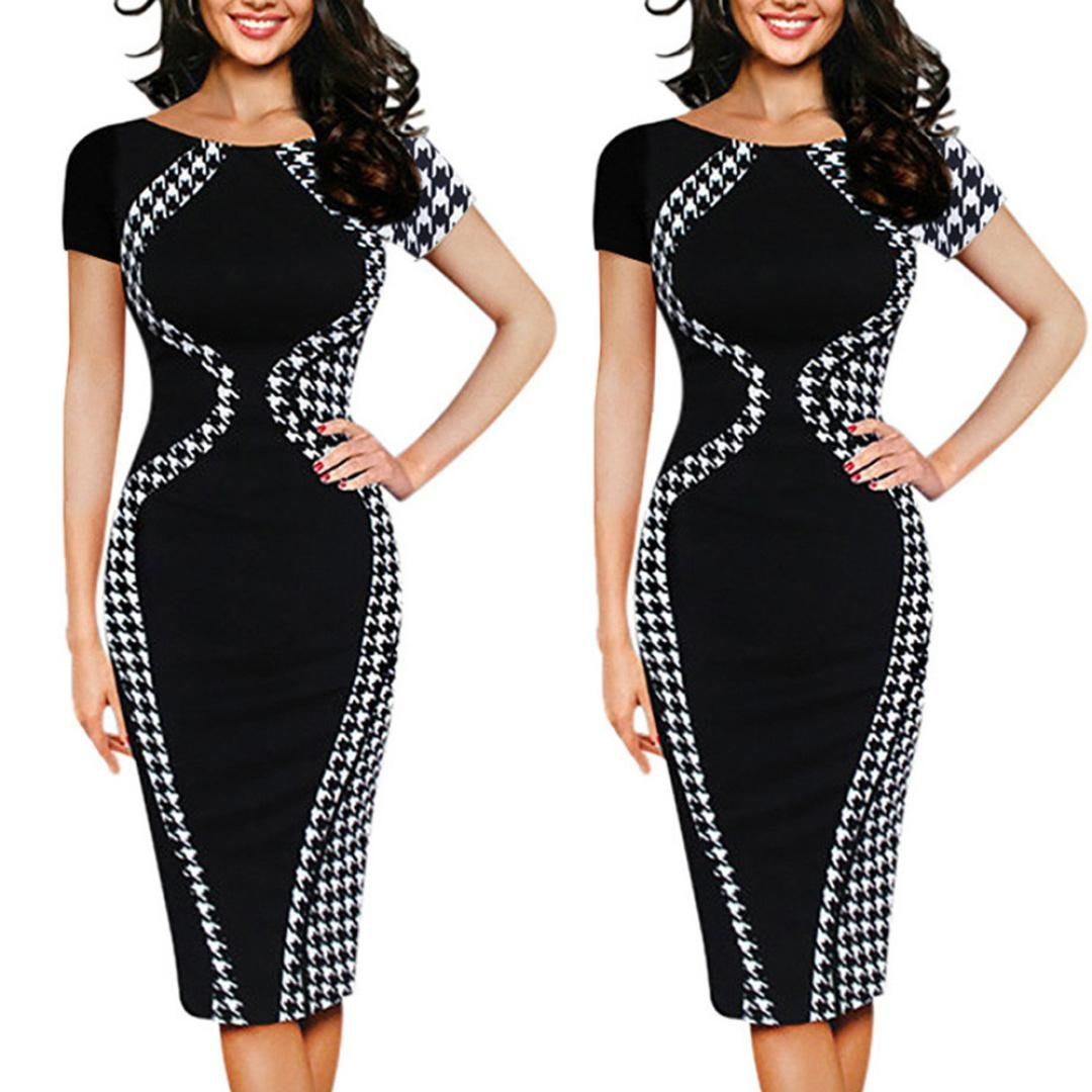 Napoo Clearance Plus Size Womens Patchwork Bodycon Short Sleeve Pencil Dress For Party Business (3XL, Black)