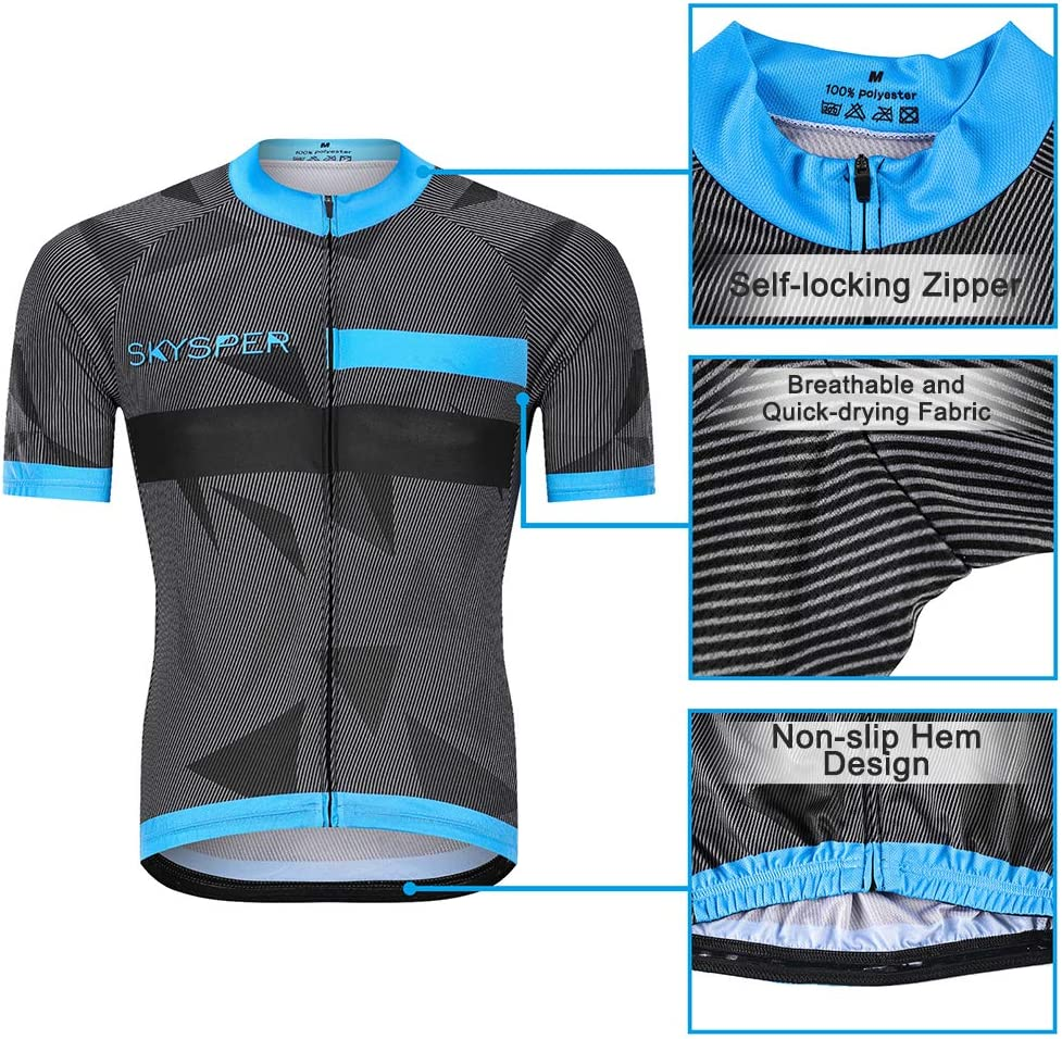SKYSPER Mens Cycling Jersey 3D Gel Padded Bib Shorts Breathable Bicycle Combo Clothing Set for Race Bike