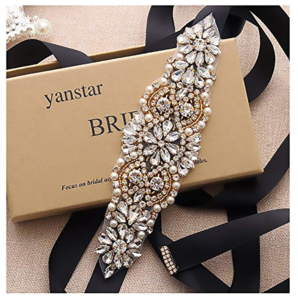 Yanstar Handmade Rhinestone Crystal Beads Wedding Bridal Belts