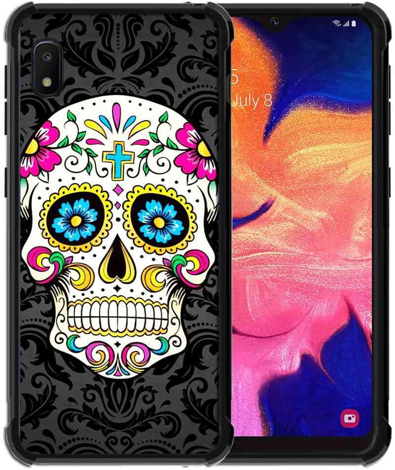 for Samsung Galaxy A10E Case Vector Sugar Skull Pattern, ABLOOMBOX Shock Soft Bumper Slim Rubber Pro Maxtective Case with Reinforced for Galaxy A10e Case