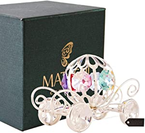 Matashi Silver Plated Crystal Studded Pumpkin Coach Home Decorative Tabletop Ornament Showpiece for Living Room - Gift for Christmas Birthday Mother's Day Valentine's Day Wedding Anniversary