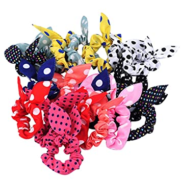 Girl's Accessories Girl's Hair Accessories 10pcs Kids Girl Rabbit Ears Polka Dot Hair Tie Ponytail Holder Bow Elastic Bands High Quality