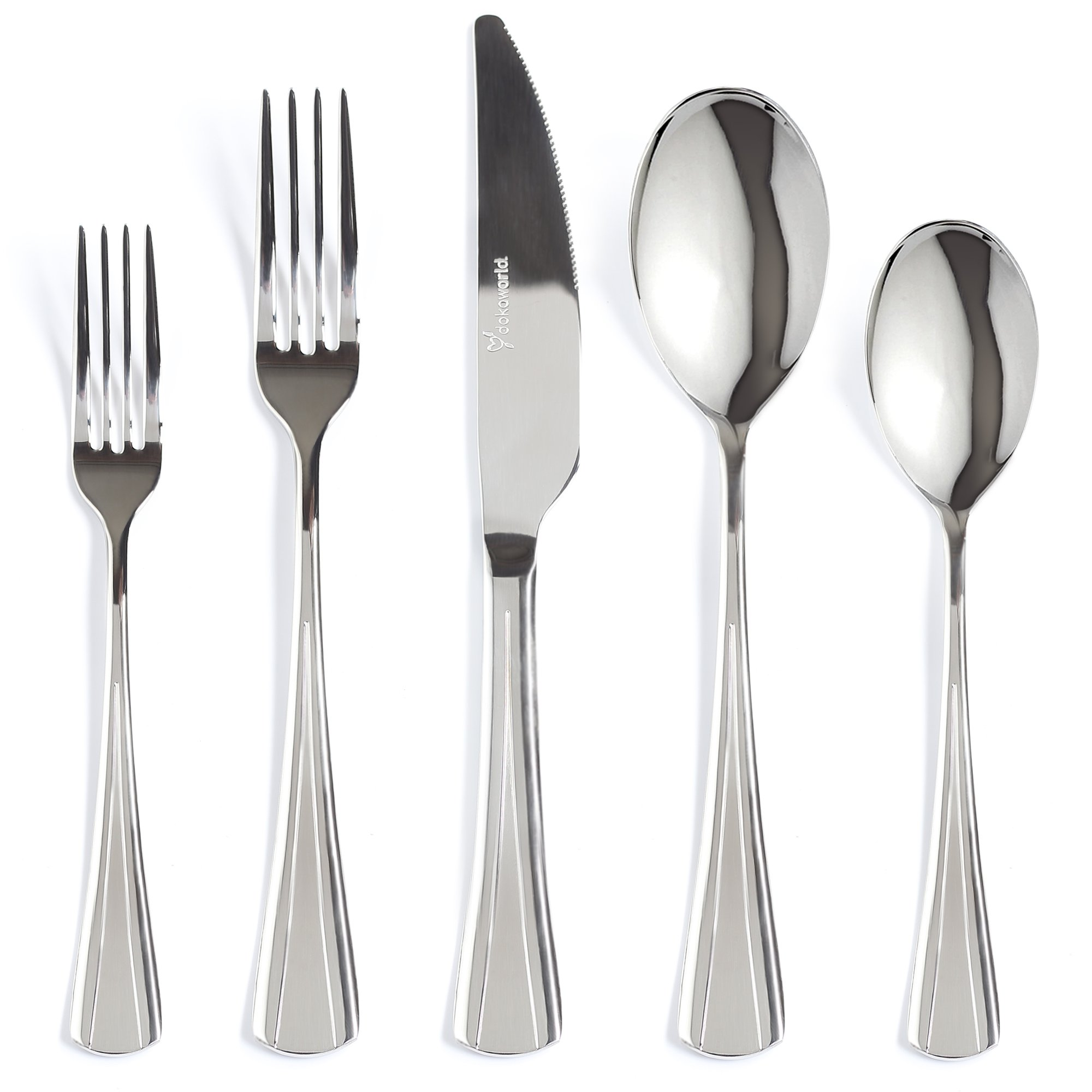 Silverware Set 18/10 Stainless Steel - Elegant Flatware Set of 40 Pieces - Eating Utensils for 8 People - Modern Cutlery Kit of Dinner Forks - Spoons Knives Dessert Forks and Spoons (D - Bird Tale)