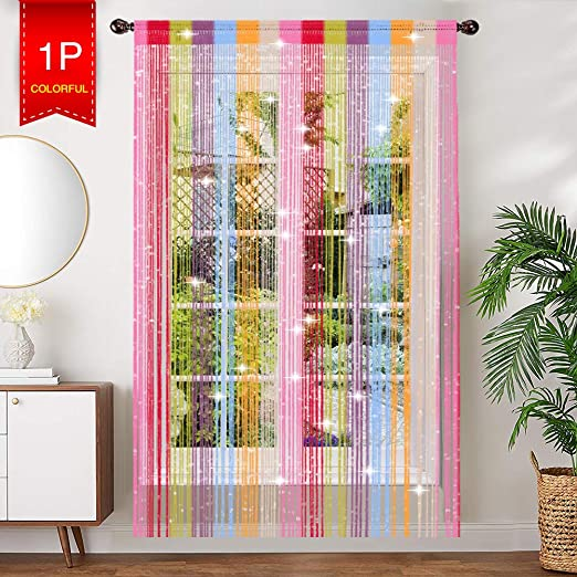 White String Curtain Panel Window Festival Decor Voile Net Screen Room Divider