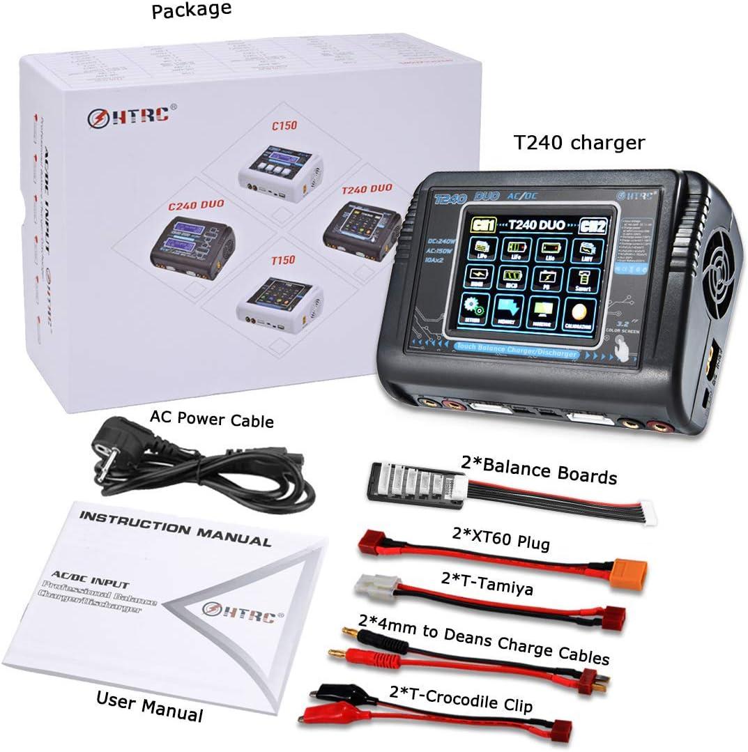 Pantalla T/áctil Cargador de Doble Balance Descargador AC 150W DC 240W 10A para Li-Ion Life NiCd NiMH LiHV PB Bater/ía Inteligente Haisito Cargador LiPo