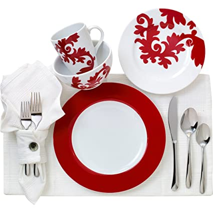 Euro Ceramica Calarama Collection 16 Piece Porcelain Dinnerware Set Service for 4 Bold Damask  sc 1 st  Amazon.com & Amazon.com | Euro Ceramica Calarama Collection 16 Piece Porcelain ...