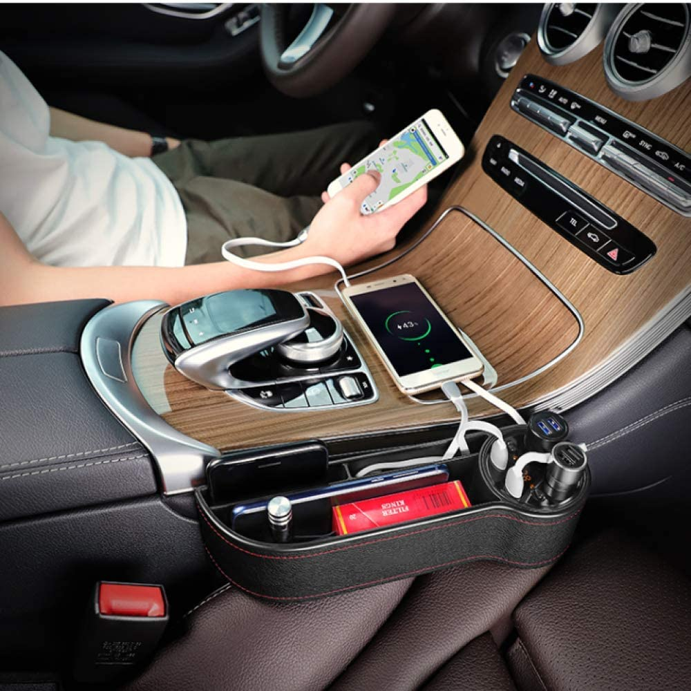 2 Fast Charging USB Port,Organize Your Odds and Ends for Easy Driving PU Leather Car Seat Gap Organizer with 2 Lighters Mookis Car Seat Gap Filler
