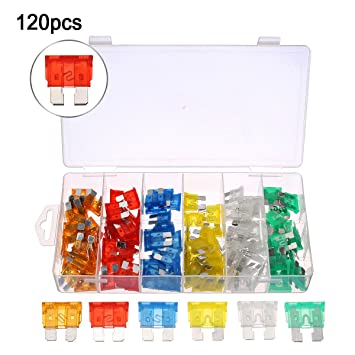 audew 120pcs auto blade fuse set car assorted car motorcycle truck boat  blade fuse box assortment