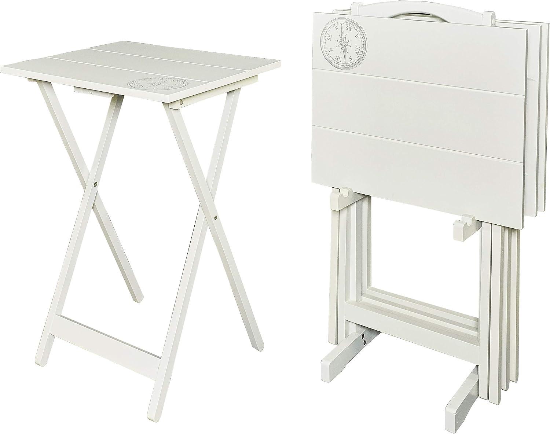 Linon Home Décor Atlas Compass Set Tray Table, Gray