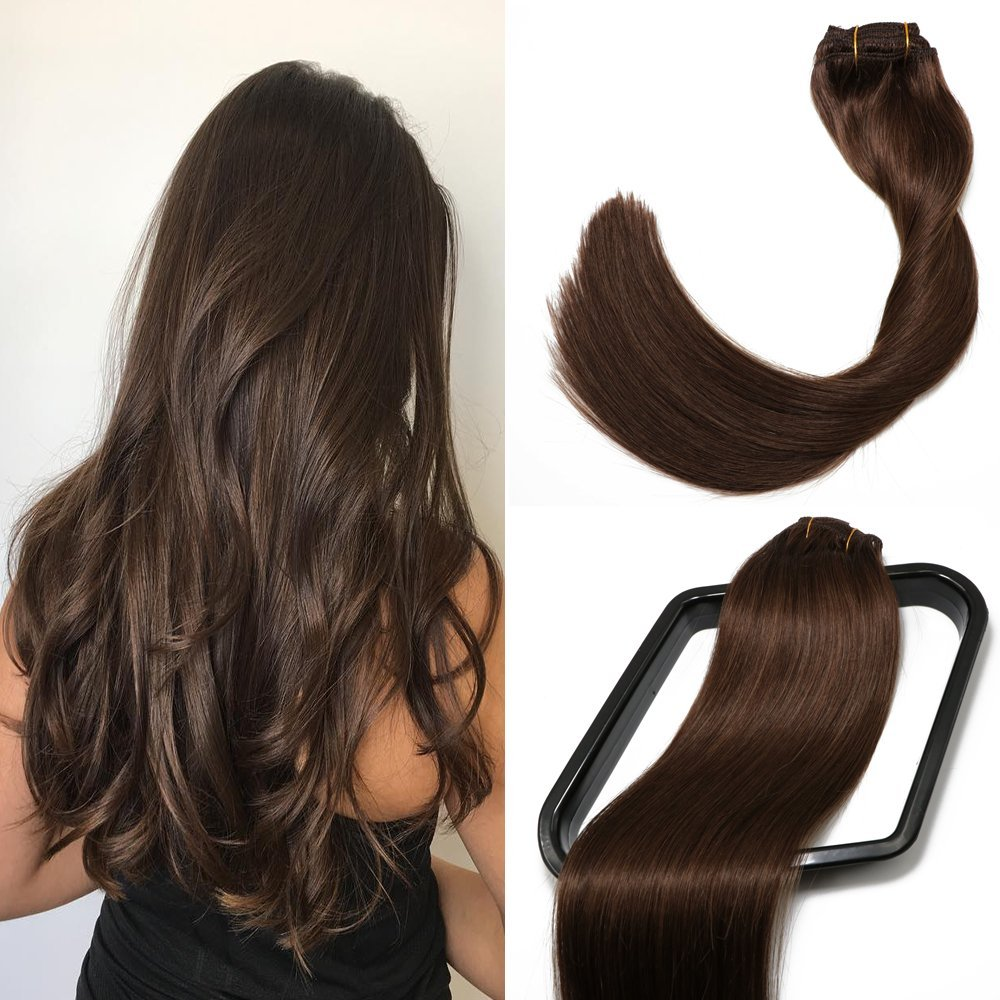 SeaShine Clip in Hair Extensions Double Weft 100% Remy Human Hair Silky Straight Grade 7A Full Head Weft Remy Hair for Women(20 Inch #60 Platinum Blonde 7pcs 16clips 70g)