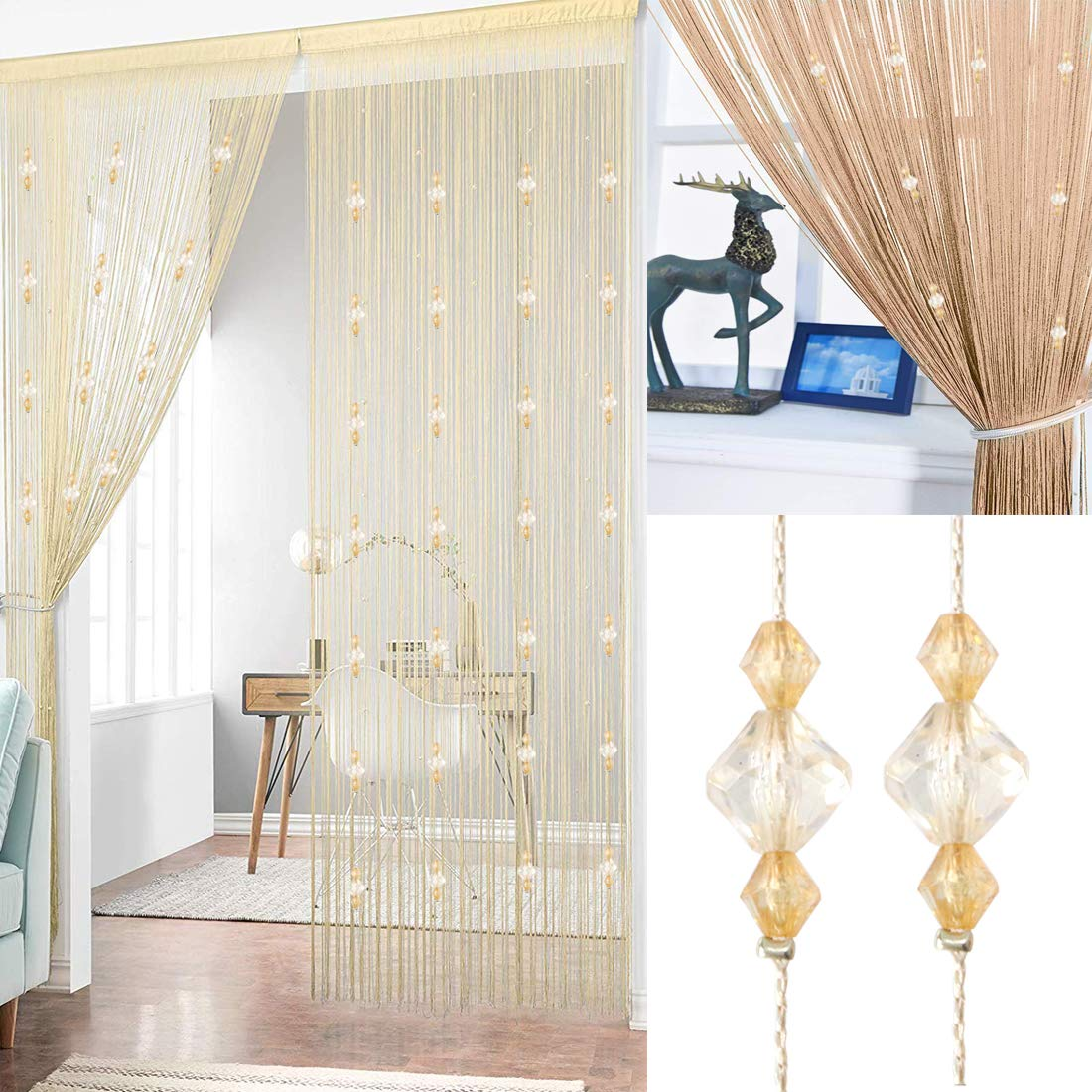 Timere Crystal Beaded Curtain Tassel Curtain - Partition Door Curtain Beaded String Curtain Door Screen Panel Home Decor Divider Crystal Tassel Screen 90x200cm (Champagne#)