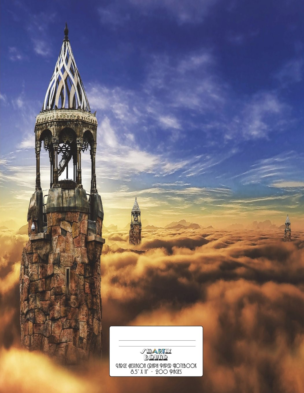 """Download Large Hexagon Graph Paper Notebook 200 Pages 8.5"""" x 11"""": Castle in the Clouds Fantasy Cover Design pdf"""