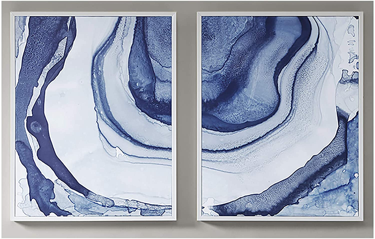 Madison Park Ethereal Wall Art-Multi Blue, Print in White Frame Modern Abstract Stretched 2 Piece Set Painting Living Room Décor