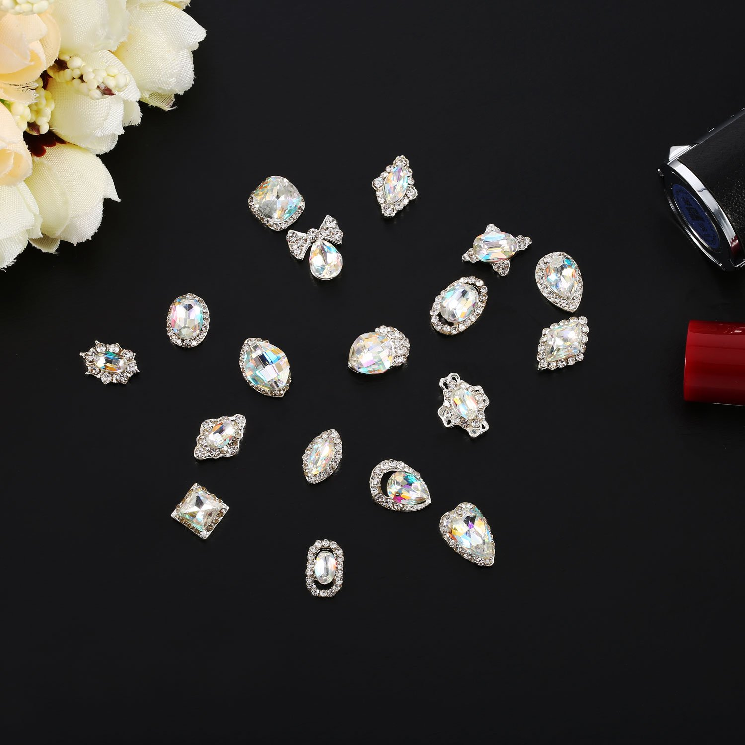 Bememo 36 Pieces 3D Nail Art Rhinestones Crystal Glass Metal Gem Stones Manicure Studs Nail Tips for Nail Art DIY (Style 1) by Bememo (Image #5)