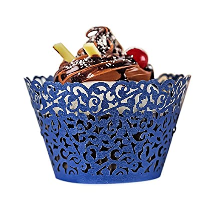 Yozatia 60pcs Standard Navy Blue Cupcake Wrappers Laser Cut Vine Lace Cupcake Decorative Liners For Party Supplies Navy Blue