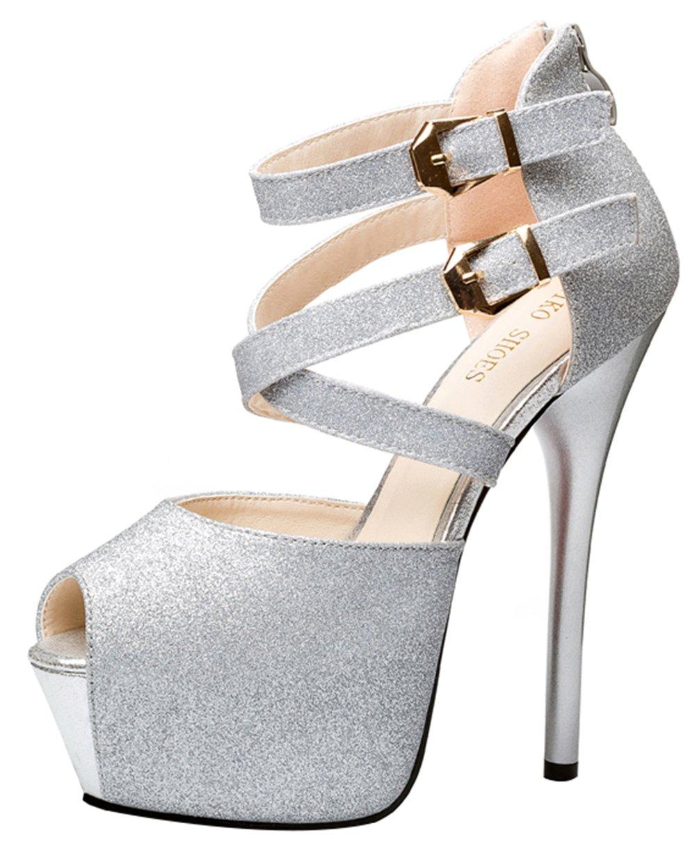 T&Mates Womens Summer Peep Toe Platform Back Zip Strap Buckle Extreme High Heel Pumps Sandals (7.5 B(M) US,Silver)