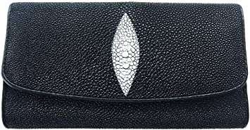 Clutch Stingray Skin Leather Short Trifold Black White Women/'s Wallets Genuine