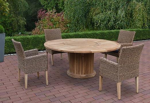 Mesa de jardín mesa redonda 160 cm Jardín Dining de mesa comedor plato giratorio teca FSC: Amazon.es: Jardín