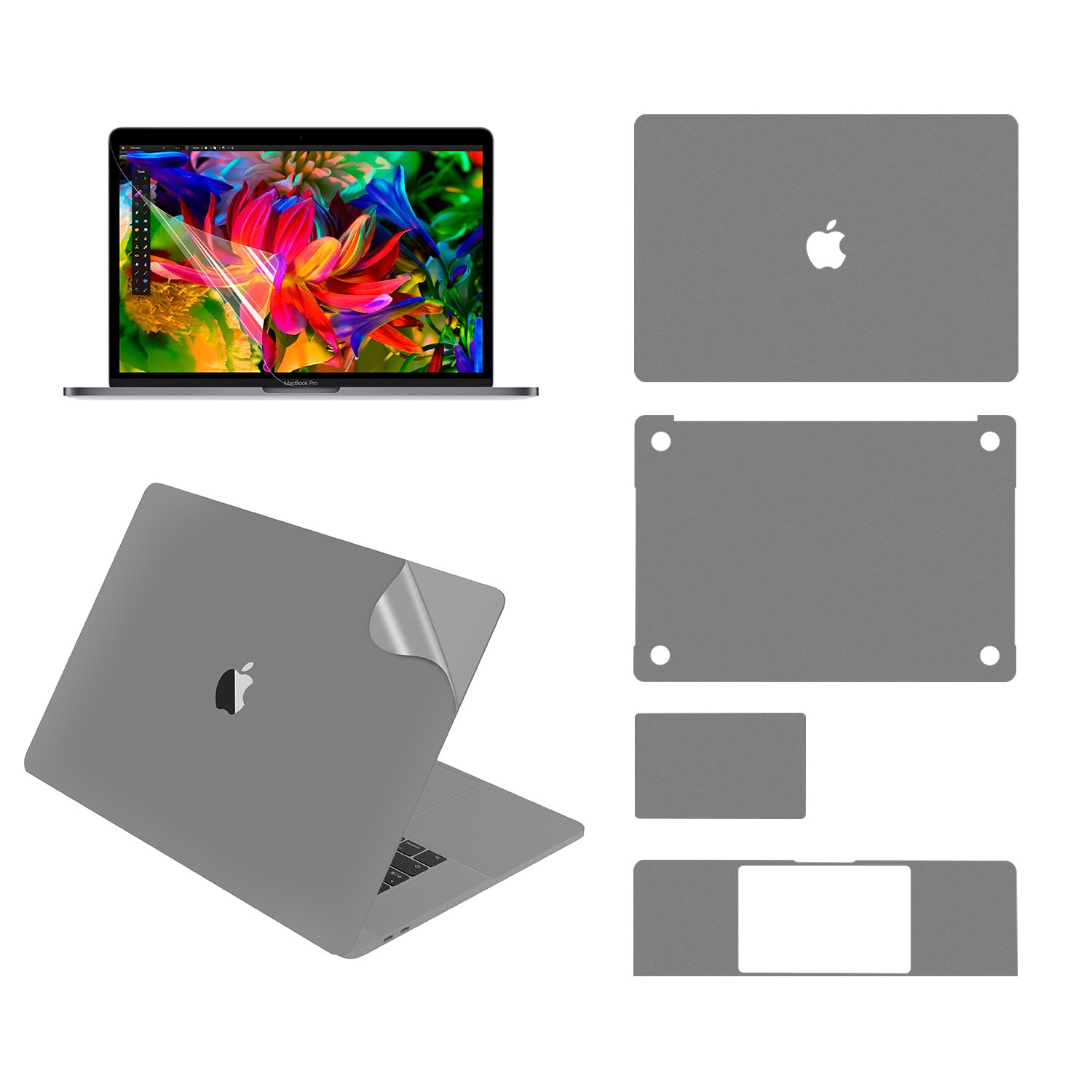 LENTION Full Body Skin for MacBook Pro (15-inch, 2016-2018), Model A1707/A1990, Full-Cover Protective Vinyl Decal Stickers (Top/Bottom/Touchpad/Palm Rest) + Screen Protector (Space Gray) by LENTION (Image #1)