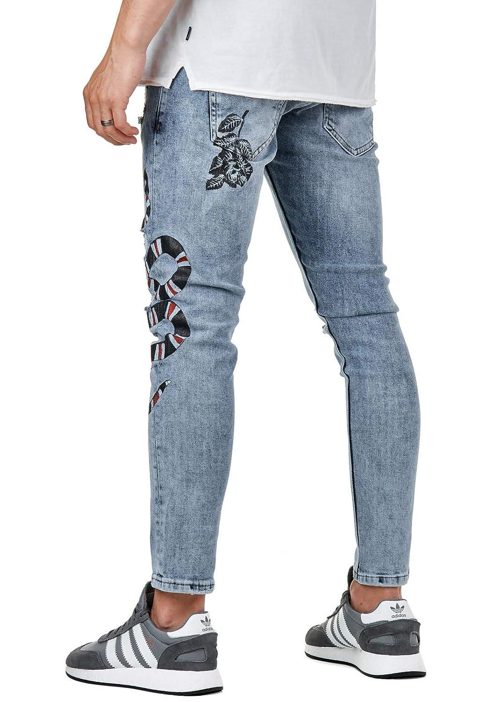 Hose Blume Schlange Snake Skinny Eightyfive Jeans Blau Herren Efj3768 Destroyed qzSUMVp