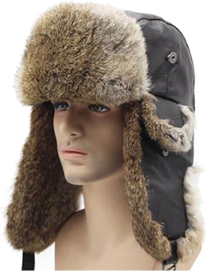 Winter Real Fur Ski Hats Unisex Rabbit Fur Bomber Hats for Men Women Real  Sheep Leather hat, Brown Black B at Amazon Men's Clothing store