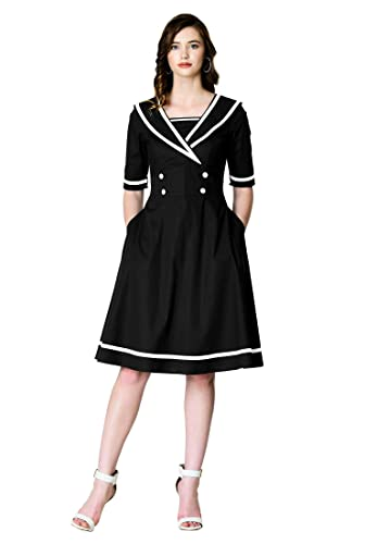1940s Dresses | 40s Dress, Swing Dress eShakti Womens Contrast Trim Cotton poplin Dress $69.95 AT vintagedancer.com