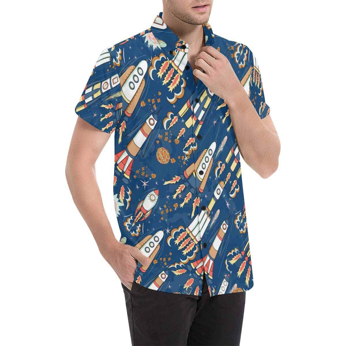 InterestPrint Mens Stand Collar Cool Rockets Buttons Shirt