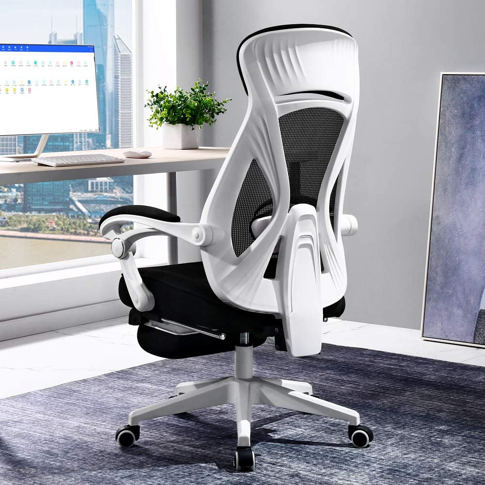 BERLMAN Ergonomic High Back mesh Office Chair Recliner with Footrest Desk Chair Computer Chair (White)
