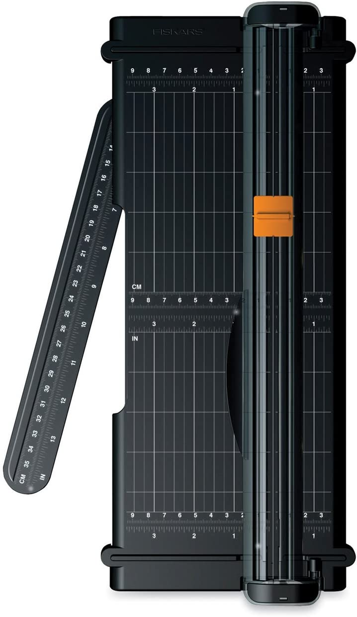 Fiskars SureCut Portable Trimmer with Recycled Cutline, 12 Inch Cut, Black