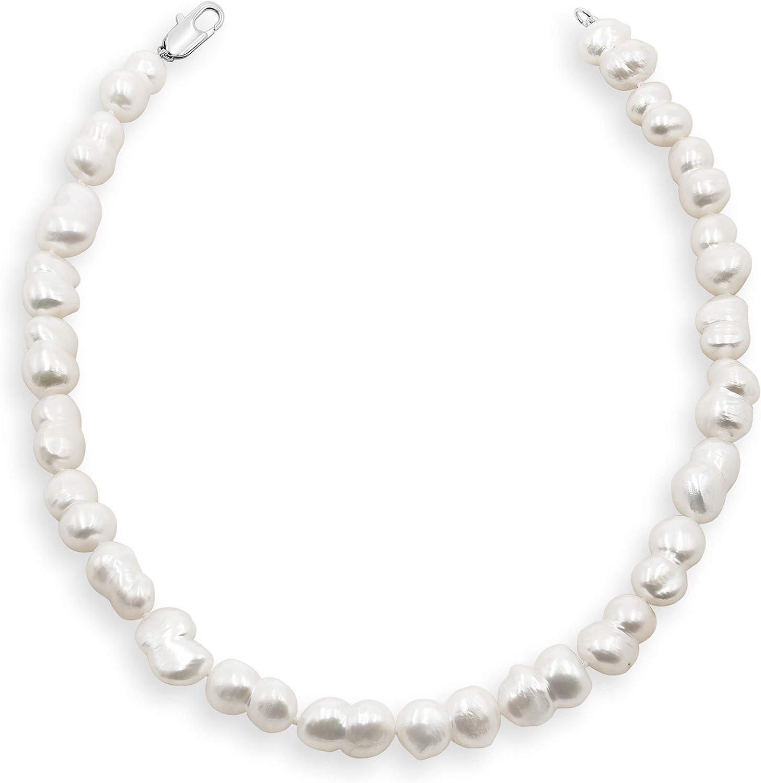 Secret & You Collar de Perlas de Mujer Cultivadas de Agua Dulce Barrocas Gemelas Tipo Gargantilla de 40 cm de Largo Perlas Barrocas Gemelas de 11-12 mm con Nudo Entre Cada Perla.