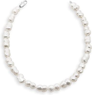 Énorme 11 mm blanc de culture d/'eau douce collier de perles 925 Sterling Argent Fermoir