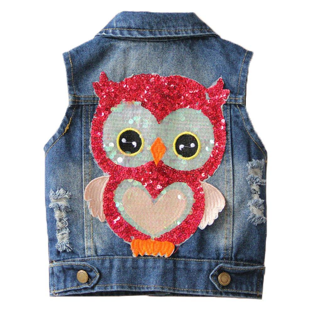 YAO Little Girls Denim Vest Spring Autumn Sequins Owl Vest Coat