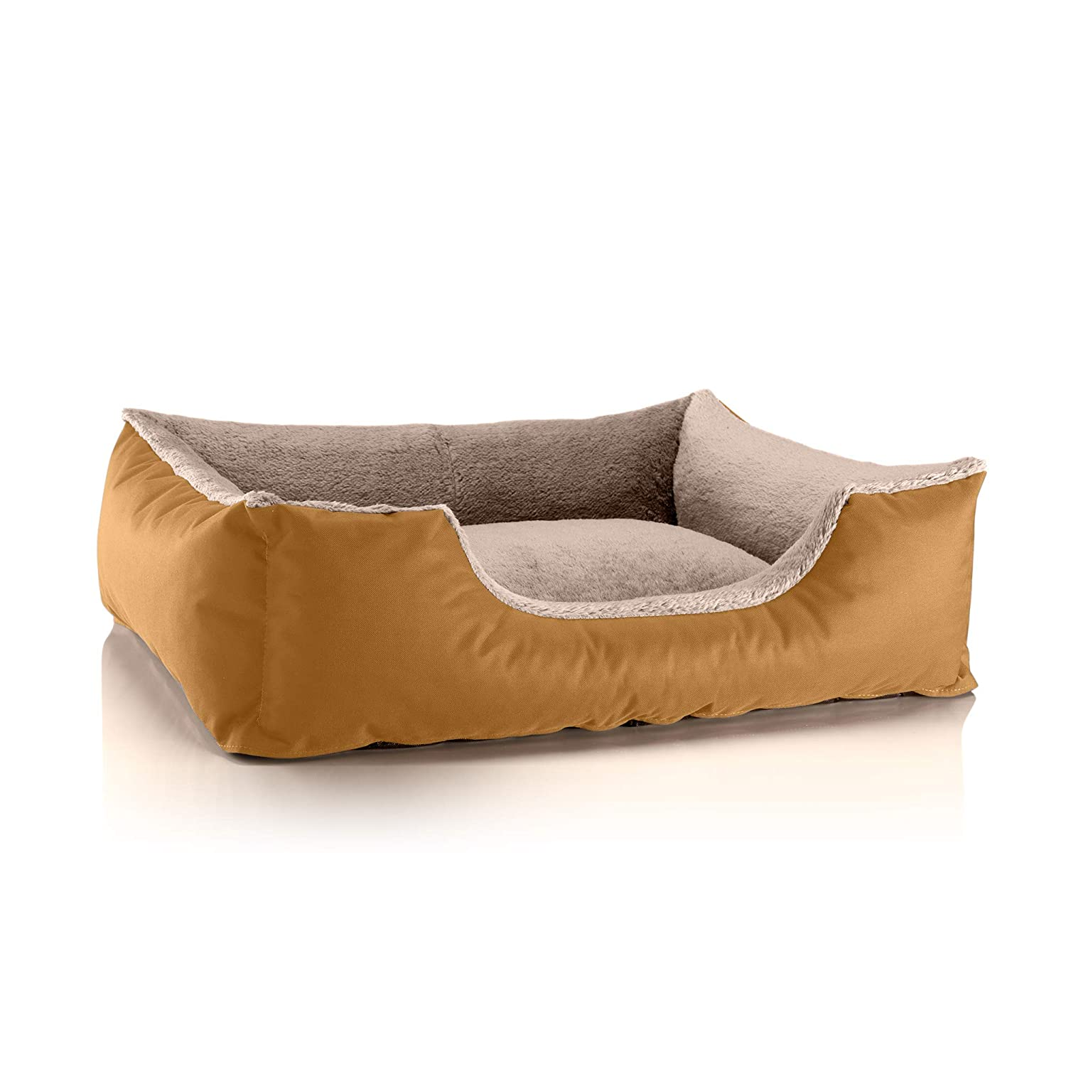 goldENSAND (gold beige) L (ca. 80x65cm)BedDog dog cat sofa TEDDY S to XXXL, 14 colours to choose, made from Cordura & Microfiber Velor, washable dog bed, dog cushion, indoor & outdoor use, size XXXL, grey grey