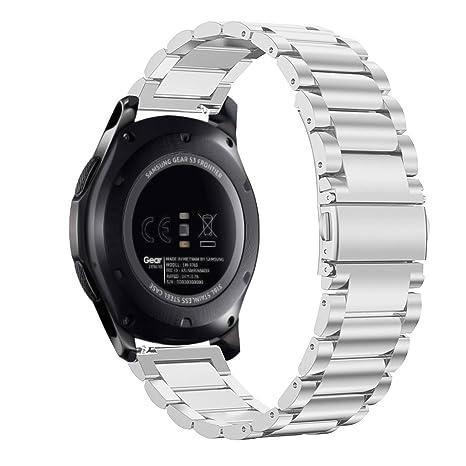 Fintie Correa para Samsung Galaxy Watch 46mm / Gear S3 Classic/Gear S3 Frontier - 22mm Pulsera de Repuesto de Acero Inoxidable, Plateado