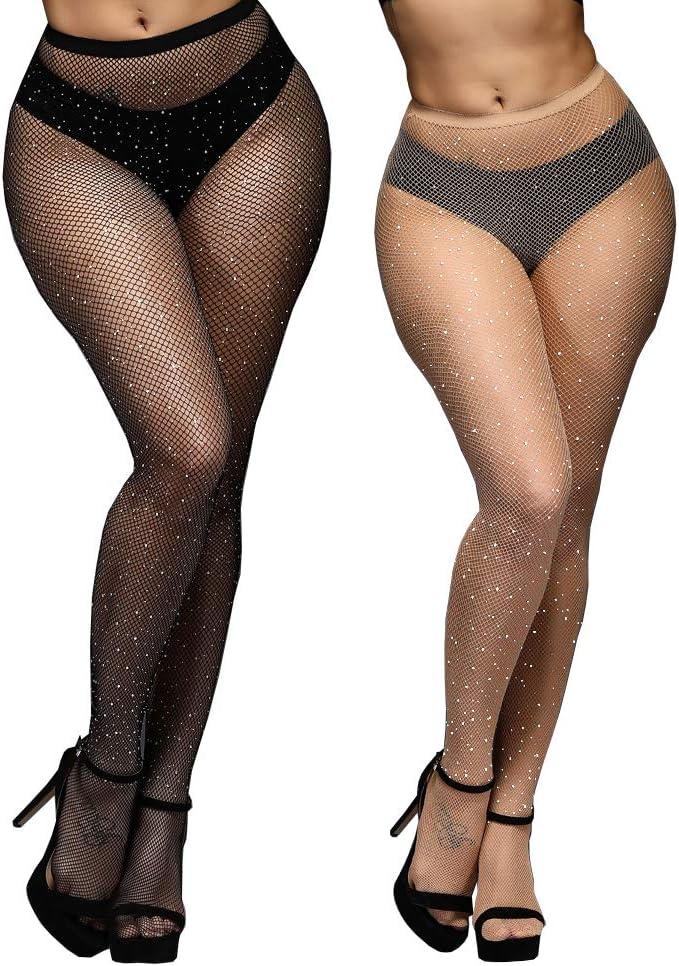 Ladys Big Fish Net Stockings Crystal Rhinestone Fishnet Elastic Tights Pantyhose